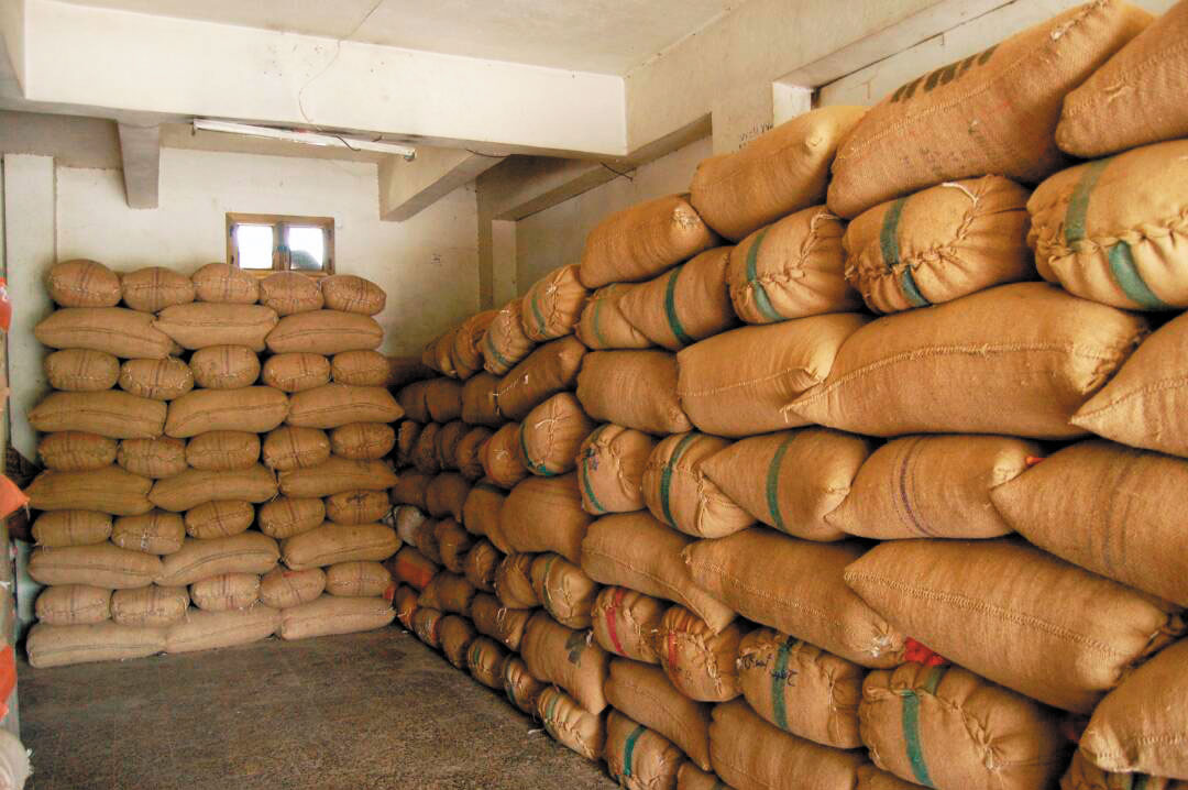 coffee bags stored
